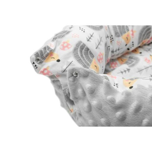 Cosulet cuib bebelus Minky bumbac 70x30 cm Sensillo Arici Gri