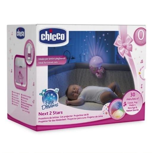 Proiector cu lampa de veghe si melodii Chicco Next 2 Stars Roz