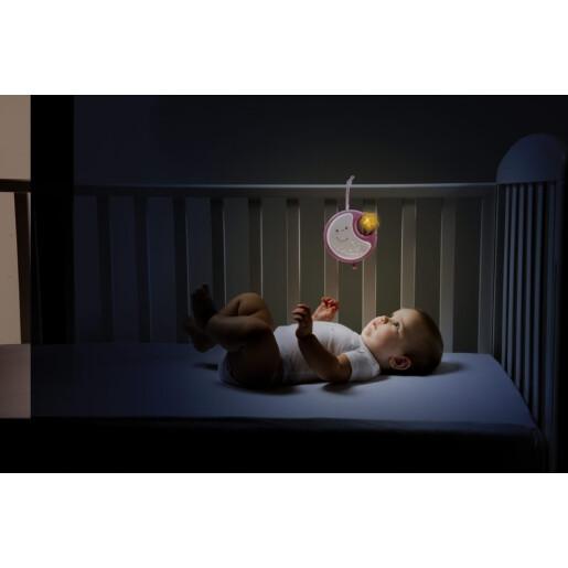 Carusel cu melodii si lampa de veghe Chicco NEXT2DREAMS Roz