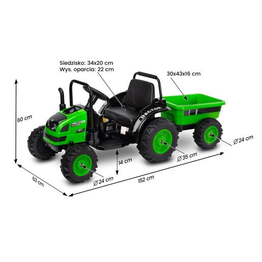 Tractor electric cu remorca si telecomanda Toyz HECTOR 12V Verde