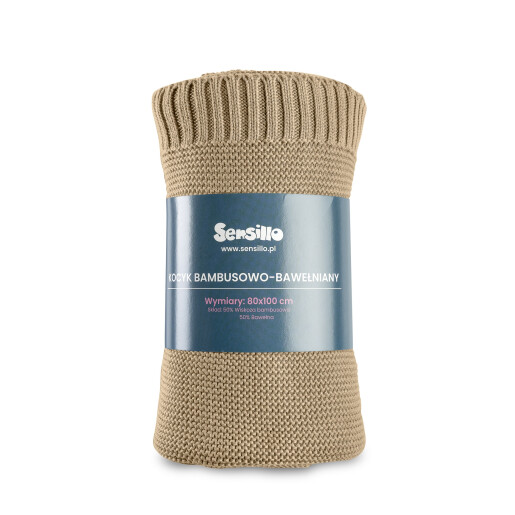 Paturica de bumbac si bambus Sensillo 100x80 cm Bej