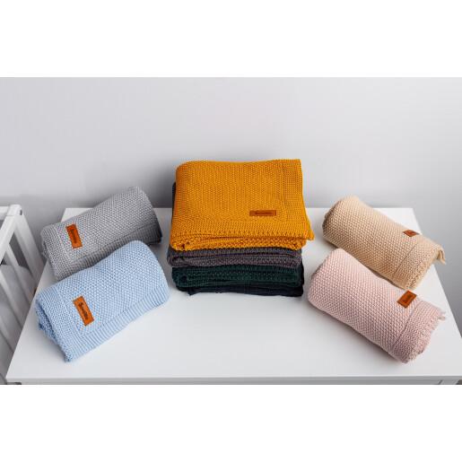 Paturica de bumbac tricotata Sensillo 100x80 cm Mustar