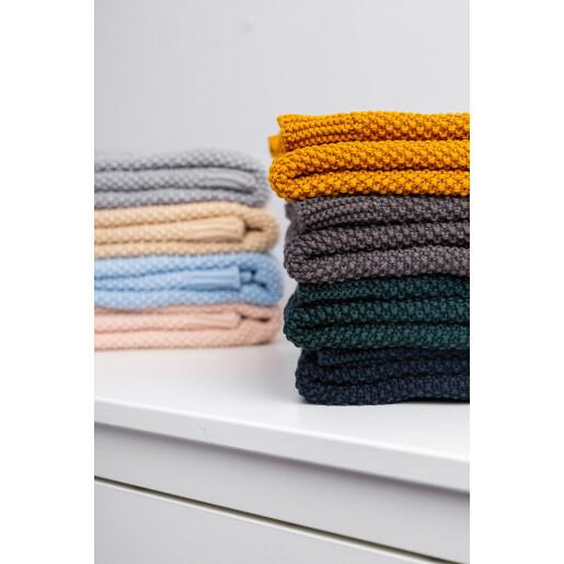 Paturica de bumbac tricotata Sensillo 100x80 cm Albastru Inchis