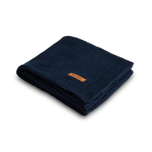 Paturica de bumbac tricotata Sensillo 100x80 cm Albastra Inchis