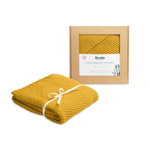 Paturica cu gluga bambus 100% cutie cadou Mustar
