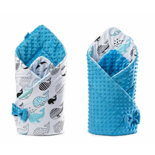 Paturica nou-nascut Sensillo Minky Wrap albastra 80x80 cm