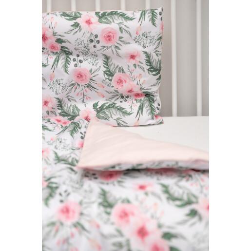 Set lenjerie de pat cu 2 piese Sensillo Trandafiri Roz