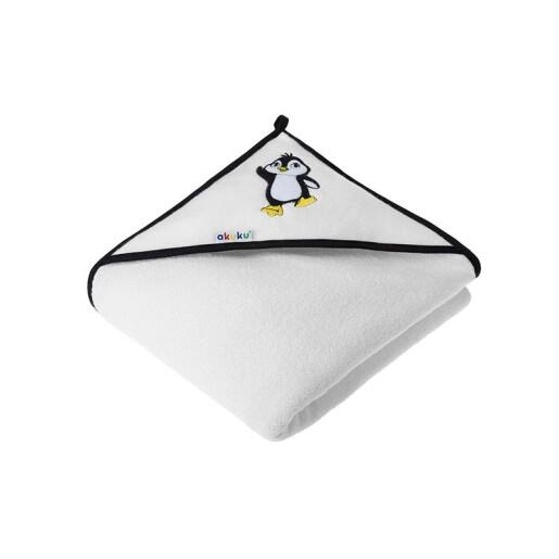 Prosop de baie cu gluga 100x100cm 100% bumbac Akuku Pinguin Alb