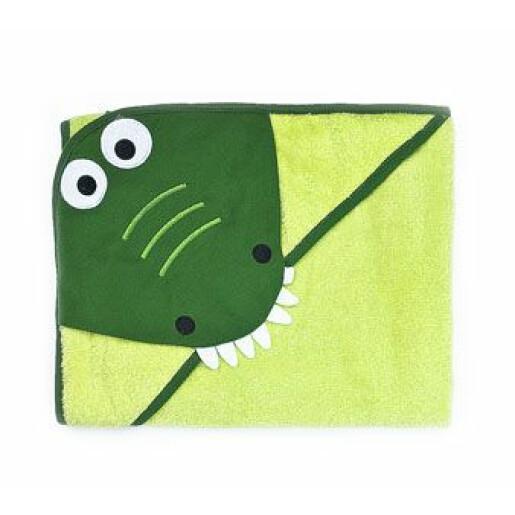 Prosop cu gluga brodata Water Friends Green Crocodil 100x100 cm