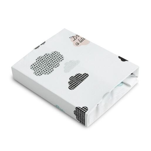 Cearsaf imprimat de bumbac cu elastic Sensillo Plush Karo 120X60cm Nori