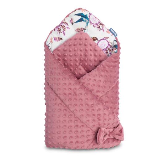 Paturica nou-nascut Sensillo Minky Wrap Retro Birds Pink 80x80 cm