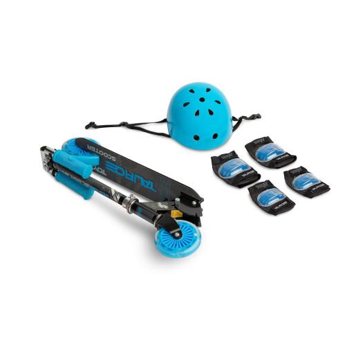 Trotineta scooter  cu casca, cotiere si genunchiere Toyz TAURO Albastru
