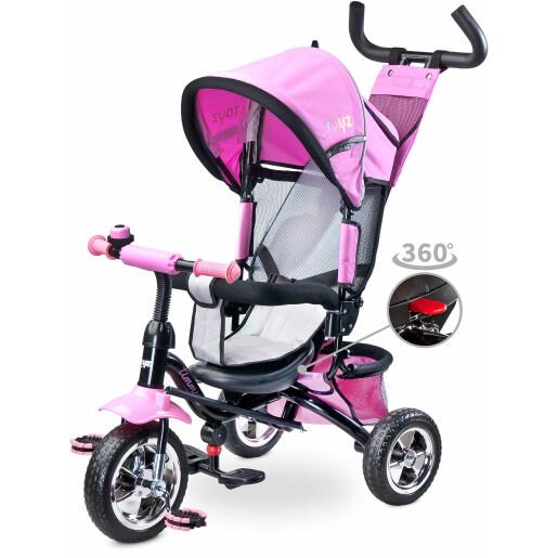 Tricicleta cu maner si scaun reversibil Toyz TIMMY Pink