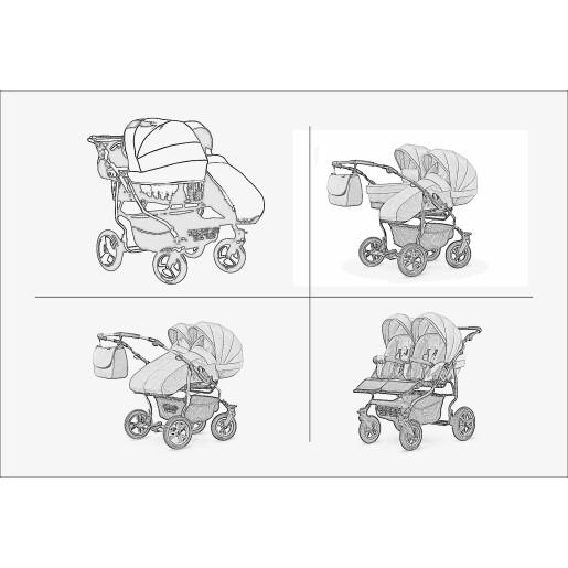Carucior pentru doi copii Mikado GOLDSTAR 0+1 (T01-02) Negru/Cadru Grafit