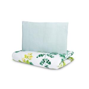 Set lenjerie de pat 100% bumbac VAFA 2 fete si cu 2 piese Sensillo Eucalipt Verde