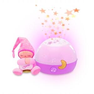 Proiector cu lampa de veghe si melodii Chicco Good Night Stars roz