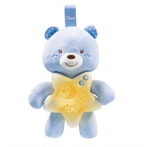 Ursulet de plus cu lampa de veghe si melodii Chicco Goodnight Bear Albastru