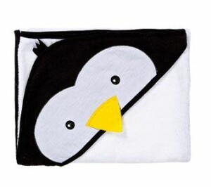 Prosop cu gluga brodata Water Friends  White Pinguin 100x100 cm