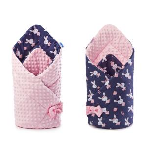 Paturica nou-nascut Sensillo Minky Wrap roz 80x80 cm