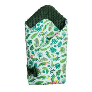 Paturica nou-nascut Sensillo Minky Wrap Parrots Green 80x80 cm