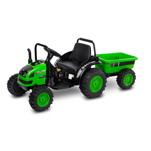 Tractor electric cu remorca si telecomanda Toyz HECTOR Verde 12V