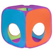 Cort cu tunel 3 in 1 pentru copii PlayTo Albastru/Portocaliu