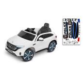 Masinuta electrica cu telecomanda Toyz MERCEDES-BENZ EQC POLICE Alba 12V