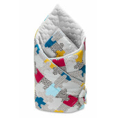 Paturica nou-nascut Sensillo Velvet Wrap Puzzle Gri 75x75 cm