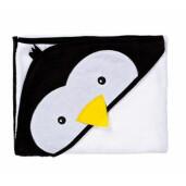 Prosop cu gluga brodata Water Friends  White Pinguin 100x100 cm