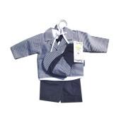 Costum cu papion si sapca baieti bumbac 80% Rabella UBRANKO 0204 marimea 62 bluemarin/alb