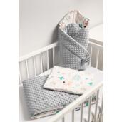 Paturica nou-nascut Sensillo Minky Wrap Animals Light Grey 80x80 cm