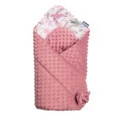 Paturica nou-nascut Sensillo Minky Wrap Colliber Retro Pink 80x80 cm