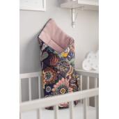 Paturica nou-nascut Sensillo Wafel Wrap Boho Roz 75x75 cm