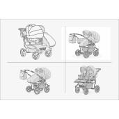 Carucior pentru doi copii Mikado GOLDSTAR 0+1 (T01-12) Bej/Cadru Grafit